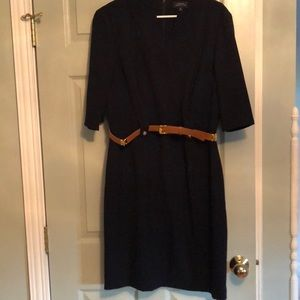 Tahari ASL Navy Belted 3/4 Sleeve Dress